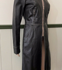 Black Leather Coat Plein Sud Made in France
