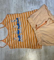 Kratka letnja narandzasta komplet pidzama