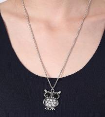 Ogrlica sova sa CZ kristalima
