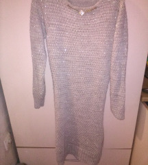 zimska siva nova vunena haljina