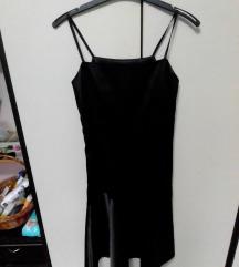 Crna haljina od satena 38