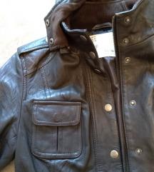 ZARA tamno braon PRIRODNA KOZNA jakna M