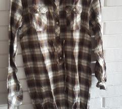 Exterra karirana pamucna haljina/kosulja/tunika, L