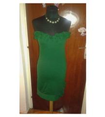 Zelena top haljina sa 3D ružama