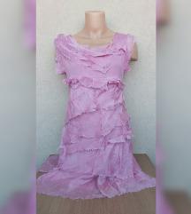 Svilena roze haljina