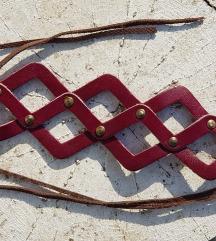 Kozna ogrlica/narukvica Cage (Prirodna koza)