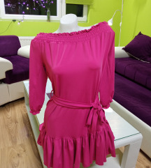 Of sholder pink haljina