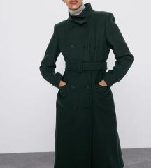 SNIZENO Nov zeleni kaput Zara L vuna