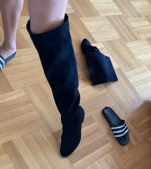 Zara cizme preko kolena crne