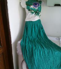 Monica duga zeleno bela haljina M
