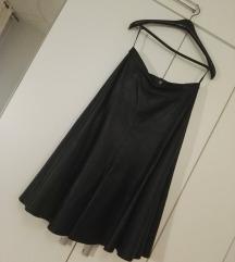 Midi suknja od prave kože, L