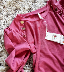 Bluza sa ukrasnim dugmicima,boja mesa,NOVA!