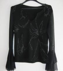 Crna majica sa rukavima od tila