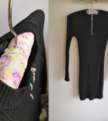 Pull and Bear crna rebrasta mini haljina, XS-S