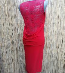 Novo crvena haljina čipka S/M