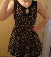 Vivian Paris crna cvetna haljina