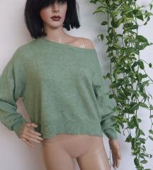 H&M zeleni oversize dzemper