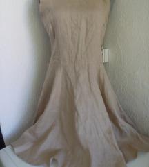 Krem lanena haljina  M