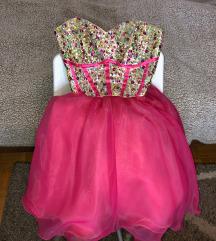 Princess pink zlatna haljina sa kristalima