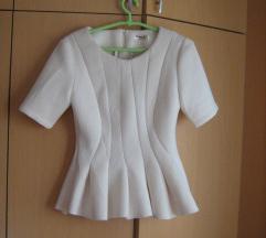 Bela peplum bluza
