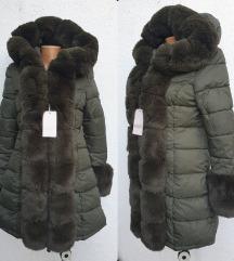 Maslinasta  jakna sa dva lica i krznom 44-NOVO