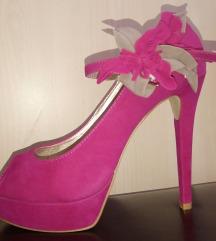 Ciklama cipele sa cvetom nove