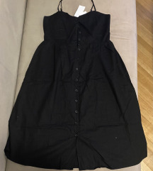 Crna lanena H&M haljina na bretele