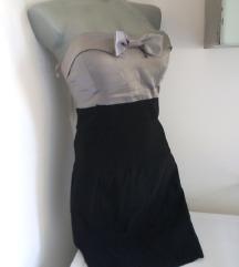 Tally Weijl sivo crna svecanija haljina L/M