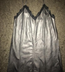 Srebrna kozna haljina