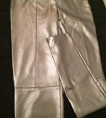 ZARA srebrne kozne pantalone.