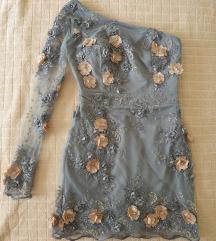 Siva haljina 3D cvetovi