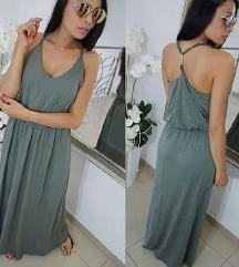 Zelena dugačka haljina