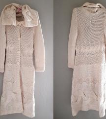 Dugacki laneni knit kardigan-(50%lan)