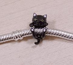 PANDORA mala crna mačka S925