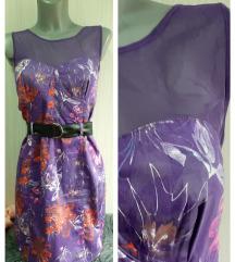 Nova ljubicasta haljina sa tilom 38