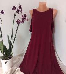 Bordo viskozna haljina sa golim ramenima vel M