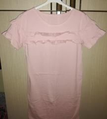 Roza pamučna tunika/haljina sa karnerima 💗