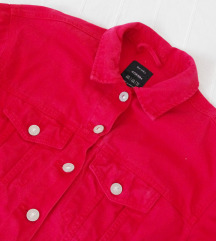 Bershka crvena teksas jakna xs - s 100% pamuk