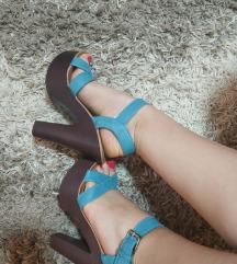 Plave sandale na štiklu 37