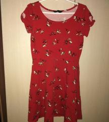 REZ Crvena haljina sa braon cvetovima