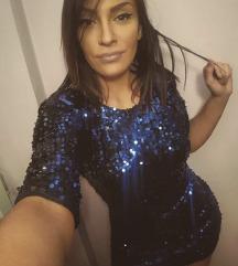 Plava sljokicasta haljina