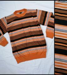 SENA retro prugasti dzemper L/XL akril i vuna