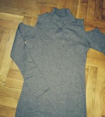 Braon haljina-Rebrasti pamuk