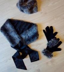 Kapa, sal, rukavice sa krznom