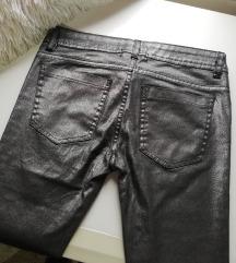 Srebrne Skinny Pantalone Sa Strasom