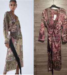Nova sa et Zara midi haljina sa resama S