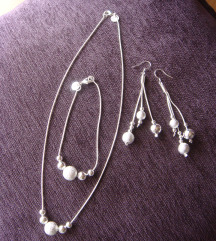 Komplet ogrlica, narukvica, mindjuse