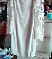 Prelepa elegantna bela haljina sa cipkom