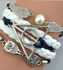 Kožna narukvica Hari Poter plavo bela