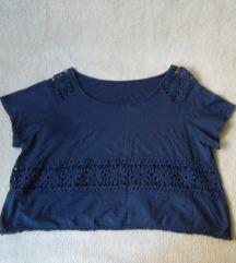 Teget crop oversized majica sa cipkom, M/L